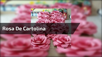 Artesanato De Rosa De Cartolina Cor De Rosa Para Decorar Festas!