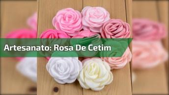Artesanato De Rosa De Fira De Cetim Na Cor Champanhe, Veja Que Linda!