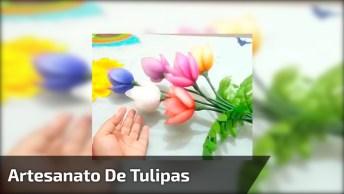 Artesanato De Tulipas Feitas Com Tule Coloridos E Arame, Veja Como Ficam Lindas!