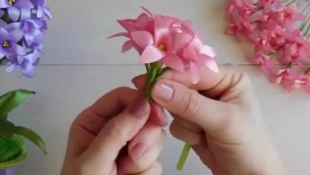 Artesanato De Vaso De Flores Pequenas De Fita De Cetim, Veja Que Delicadeza!