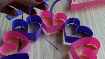 Artesanato Para O Dia Das Mães, Um Lindo Enfeite De Corações!
