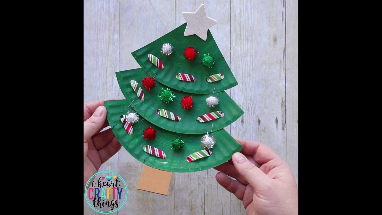 Arvores de natal para enfeitar feitas de pratinhos de papelão