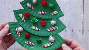 Arvores De Natal Para Enfeitar Feitas De Pratinhos De Papelão!