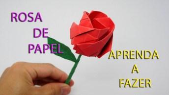 Botão De Rosa Feita Em Dobraduras, Fica Muito Lindo, Confira!