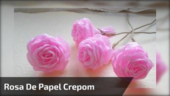 Botão De Rosa Feito Com Papel Crepom, O Resultado É Muito Lindo!