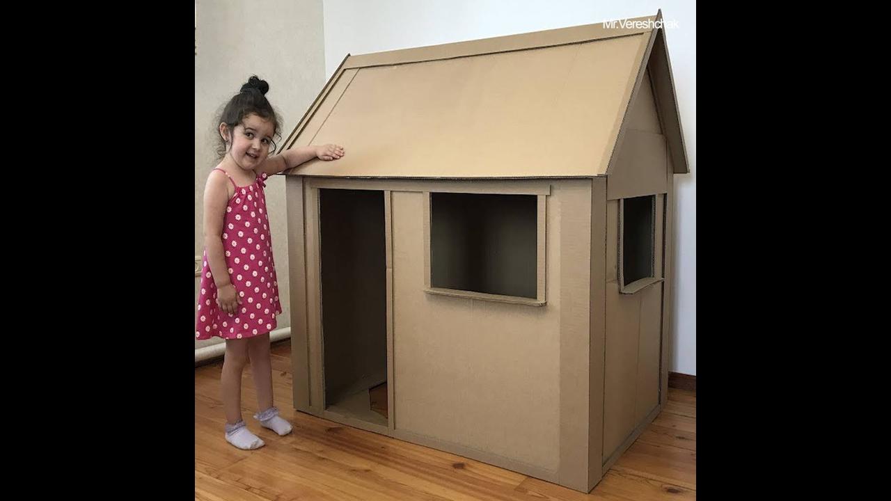 Casinha para crianças feita de caixa de papelão e cola quente!!!