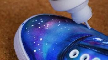 Como Deixar Seu Tênis Branco Com Desenho Da Galáxia, Confira!
