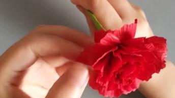 Como Fazer Flores E Folhinhas Com Papel Crepom E Cortes!
