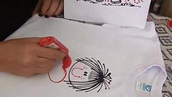 Desenhando Uma Boneca Palito Em Camiseta, Compartilhe No Facebook!
