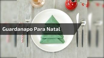 Dobradura De Guardanapo De Tecido Em Formato De Árvore De Natal, Para O Natal!