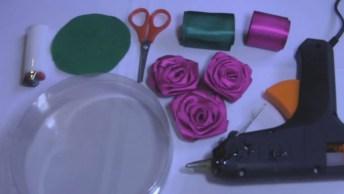 Embalagem Enfeitada Com Rosas De Cetim, Artesanato Para Usar As Rosas De Cetim!