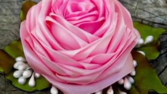 Fazendo Uma Rosa Com Fitas De Cetim, Fica Muito Linda! , Confira!