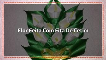 Flor Copo De Leite Feita Com Fita De Cetim, Fica Muito Lindo O Resultado!