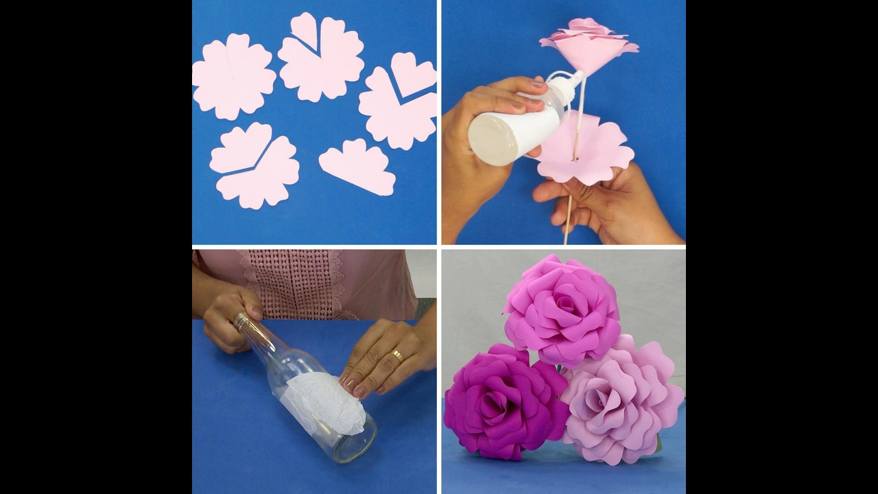Flor de papel e materiais recicláveis, enfeite a noite de dia dos namorados!