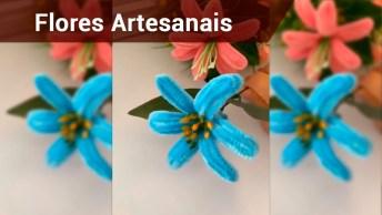 Flores Com Fitas De Cetim E Papel Crepom