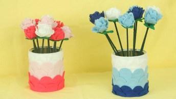 Flores Na Lata, Todo Enfeite Feito Com Feltro, Confira E Compartilhe!
