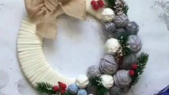 Guirlanda De Natal Para Porta, Bem Linda E Fácil De Fazer!