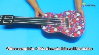 Guitarra De Enfeite Feita De Papelão, Fica Muito Linda Para Decorar!