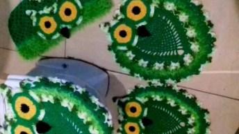 Jogo De Banheiro Em Crochê Coruja Verde, Um Lindo Trabalho!