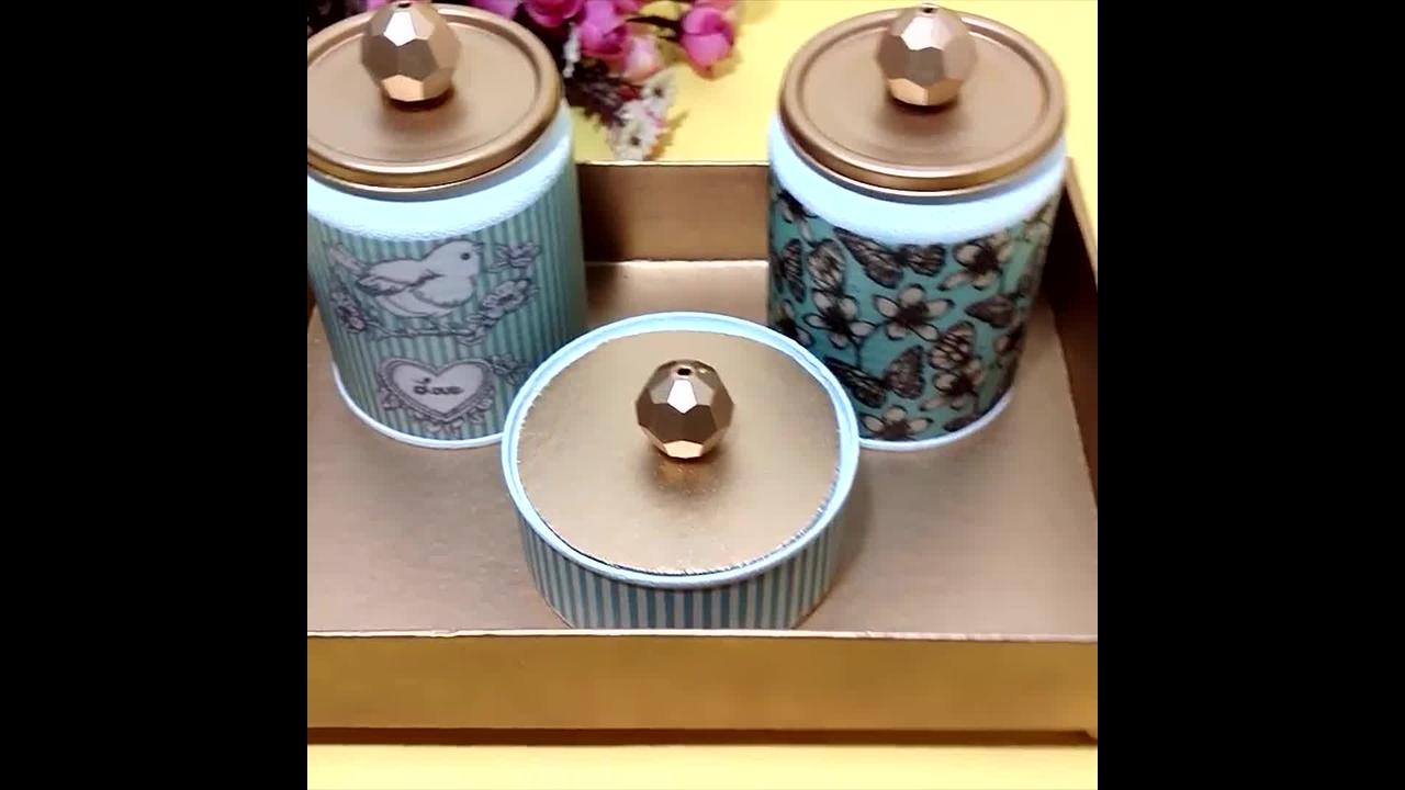 Kit Higiene feito com latas recicláveis