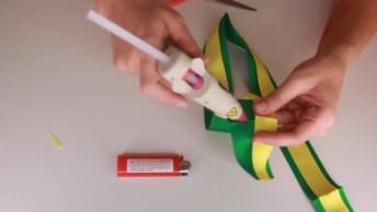 Laço Com Cores Verde A Amarela, Perfeito Para A Copa Do Mundo!