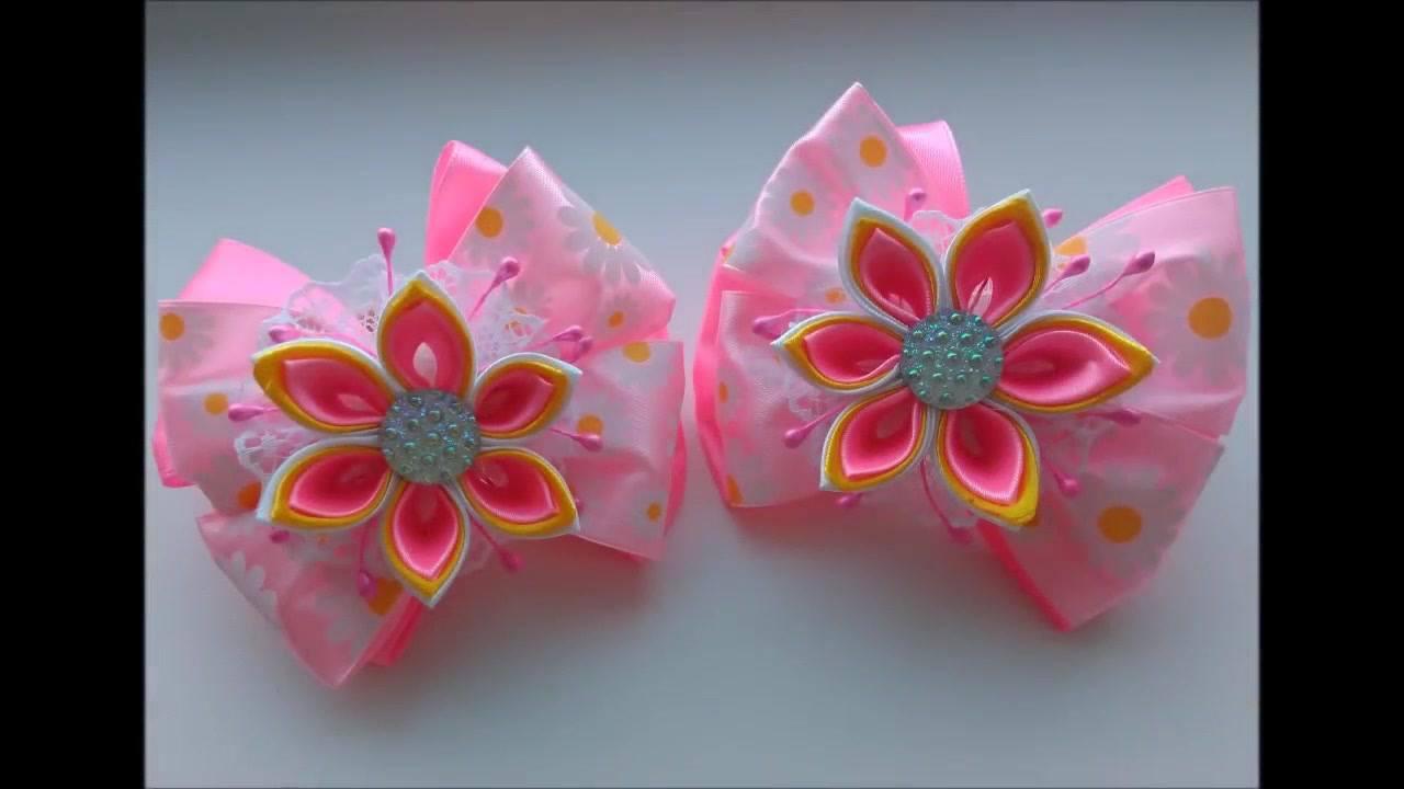 Laço rosa com flor, um artesanato que fica muito lindo