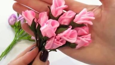 Mini Buquê De Flores Para Fazer Com Fita De Cetim, Confira!