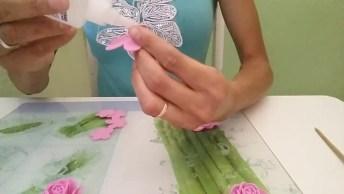 Mini Rosas De Artesanato, Ficam Lindas E São Fáceis De Fazer!