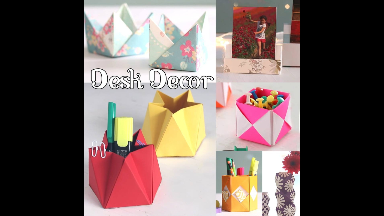 Objetos de decoração feito com dobraduras e artesanato