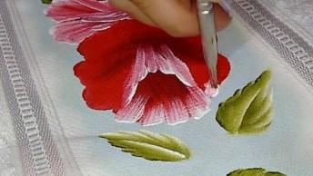 Pintura Em Tecido, Veja Que Lindas Flores Desenhadas Em Passo A Passo!