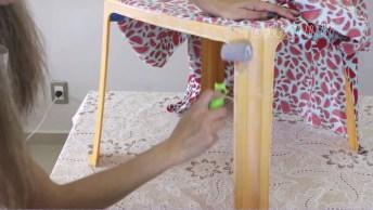 Renovando Cadeira E Mesa De Plástico, Encapando Com Tecido!