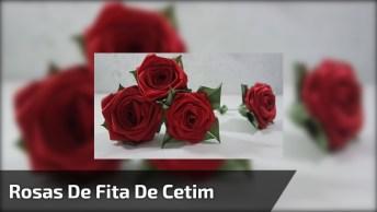 Rosas Vermelhas Com Fita De Cetim, Fica Muito Linda, Vale A Pena Conferir!