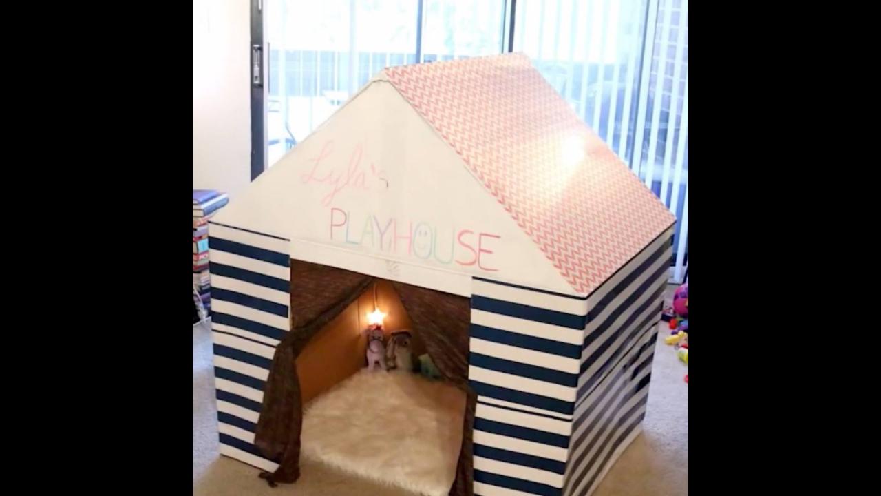 Tutorial de como transformar caixa de papelão grande em casinha para criança
