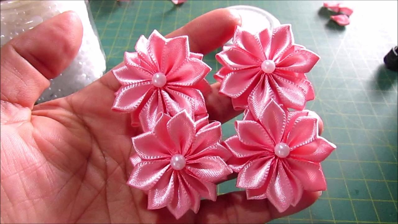 Tutorial de flores de fita de cetim para prendedor de cabelo!!!