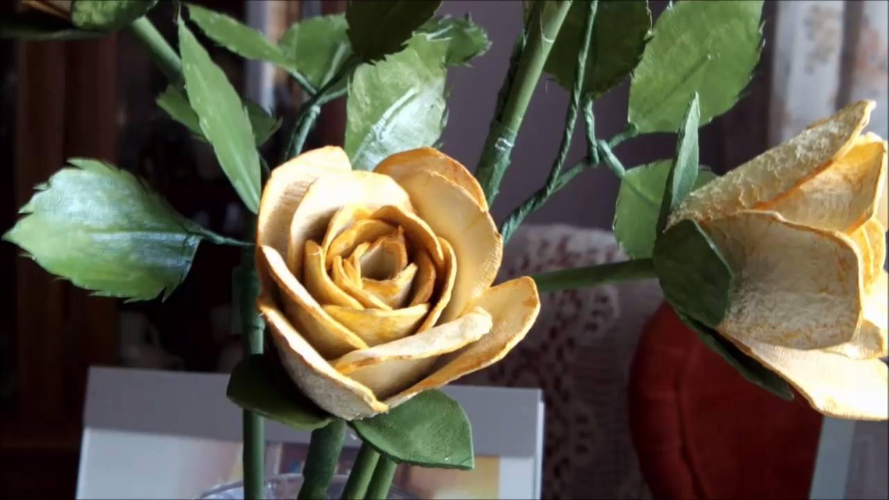 Tutorial de rosas feita com bandeja de ovos
