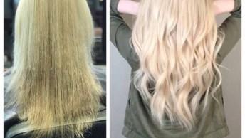 Antes E Depois De Tratamento E Aplicação De Mega Hair, É Incrível Resultado!