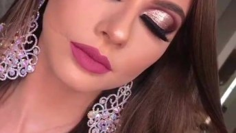Aplicação De Sombra Rosa Metálica Maravilhosa, Impossível Não Se Apaixonar!
