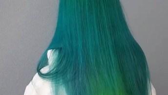 Cabelo Verde Claro E Turquesa, Veja Que Linda Combinação, Perfeito!