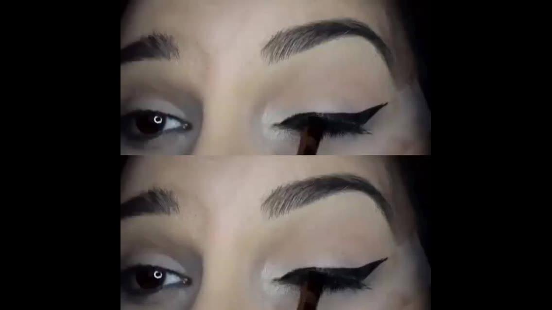 Como delinear os olhos com a ajuda de uma fita adesiva