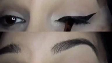 Como Delinear Os Olhos Com A Ajuda De Uma Fita Adesiva, Muito Legal!