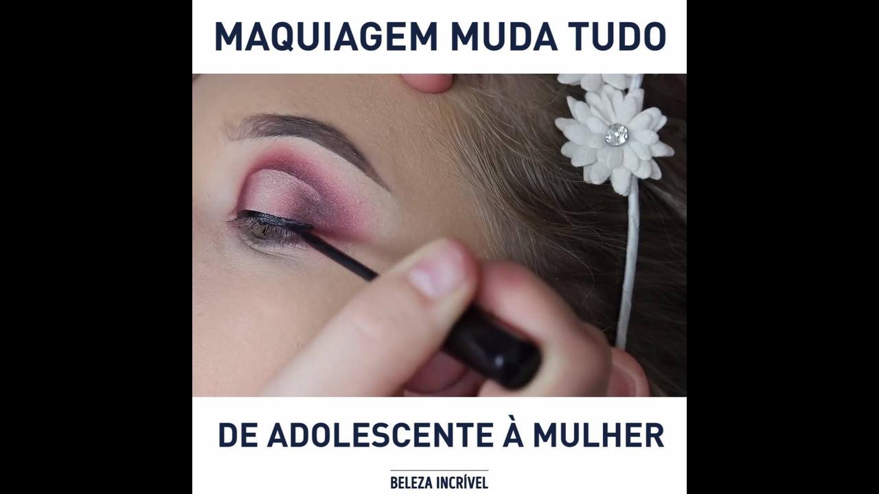 De menina a mulher apenas com maquiagem