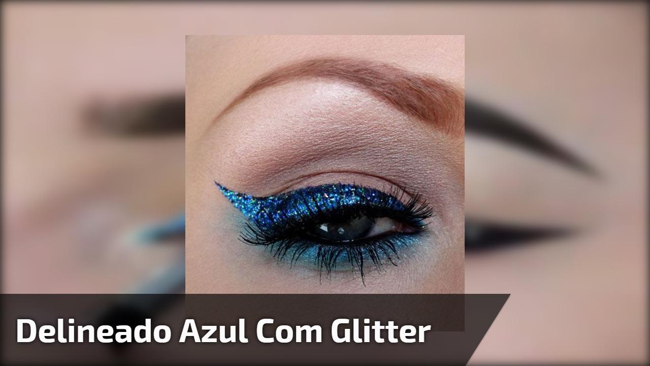Delineado azul com aplicação de Glitter prata, e com gatinho preto!!!
