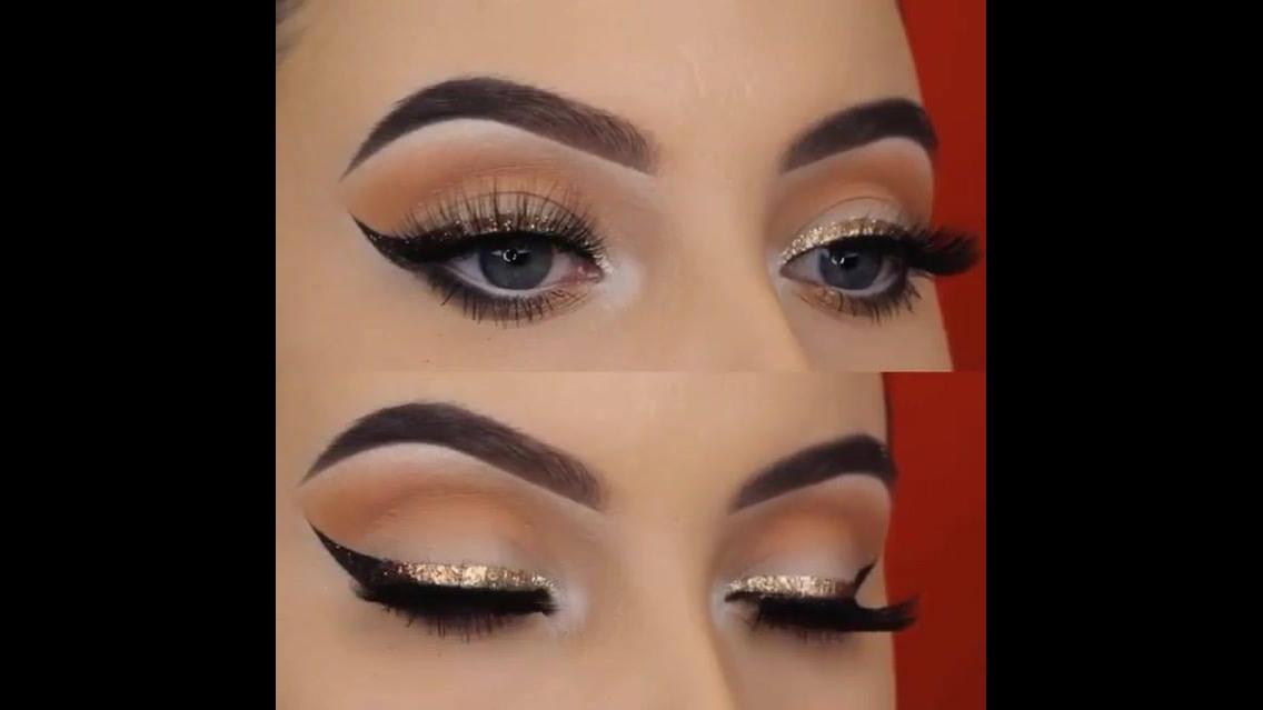 Delineado com aplicação de Glitter dourado, simplesmente perfeito!!!
