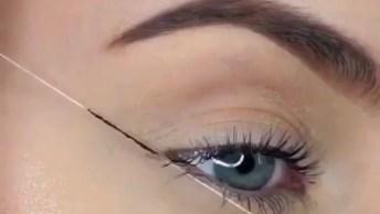 Delineando Os Olhos Com A Ajuda De Uma Linha, Que Ideia Incrível!