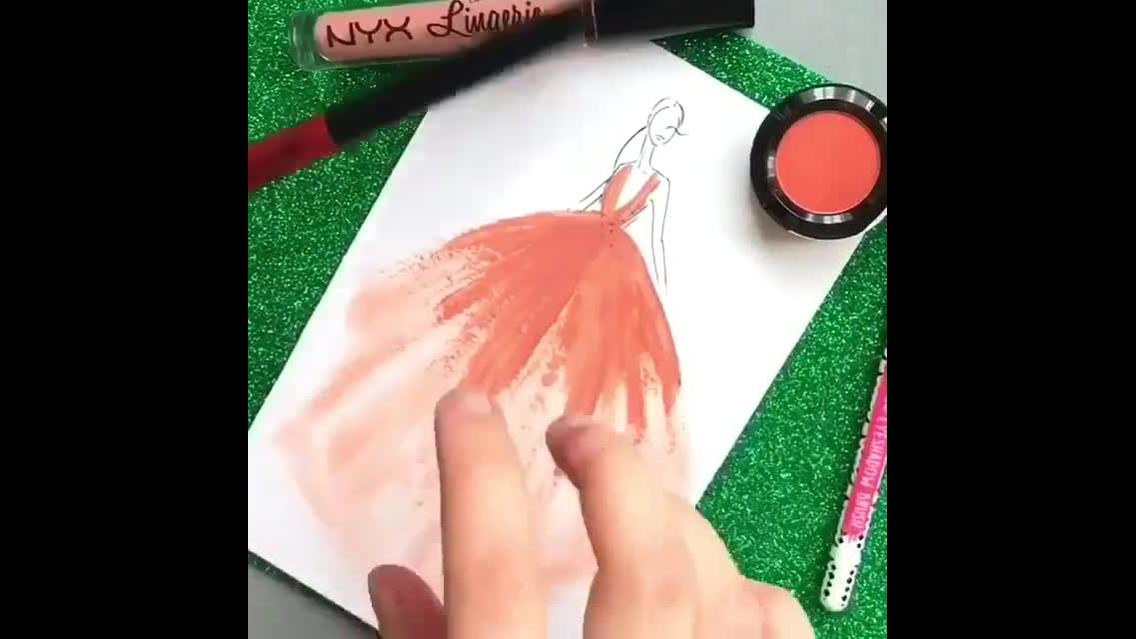 Desenhando um, croqui com maquiagem
