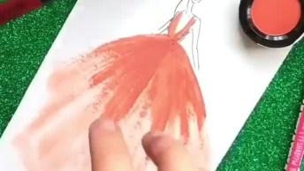 Desenhando Um, Croqui Com Maquiagem, Olha Só Que Lindo Desenho!