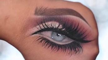 Desenho De Olhos Maquiados No Dorso Da Mão, Que Lindo Que Ficou!