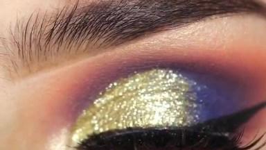 Esfumado Laranja E Violeta, Com Glitter Dourado, Uma Combinação Perfeita!