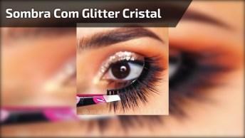 Esfumado Marrom Claro, Com Sombra Com Glitter Cristal, E Puxadinho Preto!