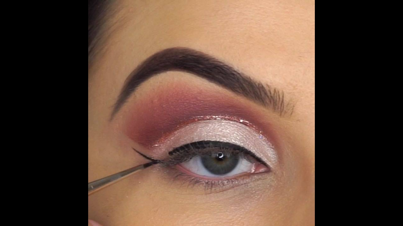 Esfumado marrom com sombra cintilante clara, e detalhe com Glitter bronze!!!